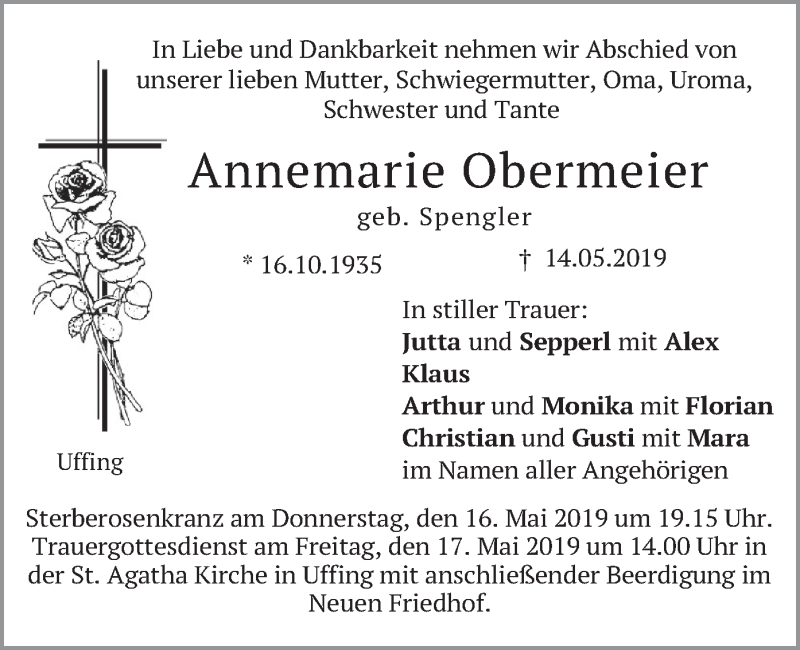 Traueranzeige für Annemarie Obermeier vom 15.05.2019 aus merkurtz