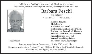 Traueranzeige für Barbara Peschl vom 15.05.2019 aus merkurtz