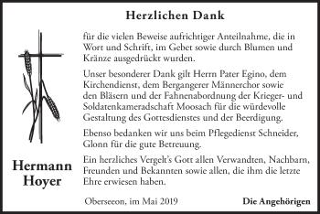 Traueranzeige für Hermann Hoyer vom 15.05.2019 aus merkurtz