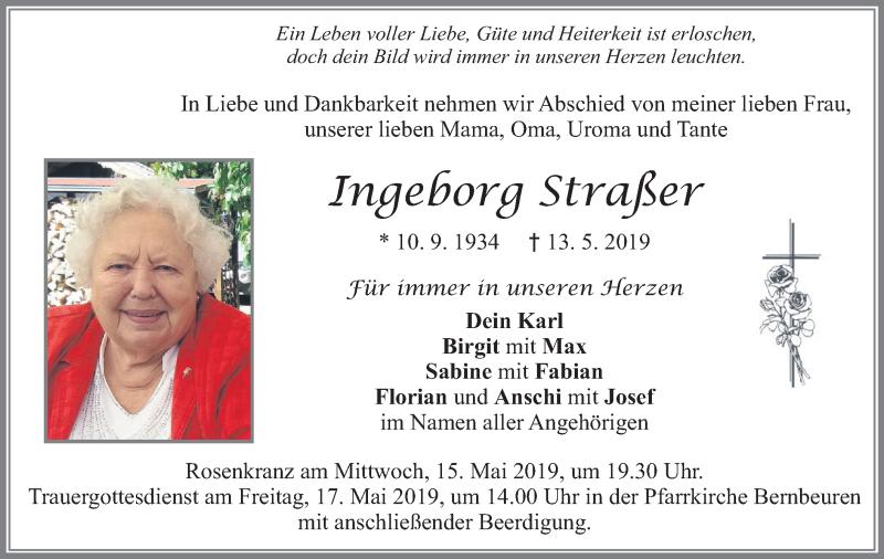 Traueranzeige für Ingeborg Straßer vom 15.05.2019 aus merkurtz