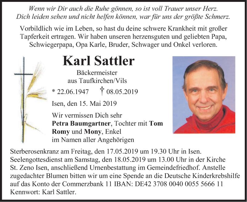 Traueranzeige für Karl Sattler vom 15.05.2019 aus merkurtz