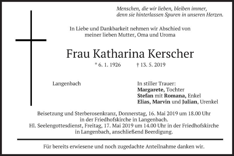 Traueranzeige für Katharina Kerscher vom 15.05.2019 aus merkurtz