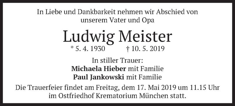 Traueranzeige für Ludwig Meister vom 15.05.2019 aus merkurtz