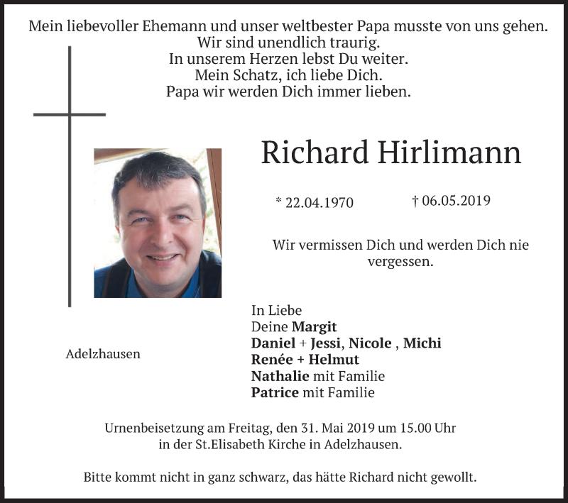 Traueranzeige für Richard Hirlimann vom 24.05.2019 aus merkurtz
