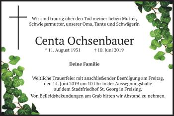 Traueranzeige für Centa Ochsenbauer vom 12.06.2019 aus merkurtz
