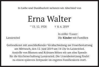 Traueranzeige für Erna Walter vom 11.06.2019 aus merkurtz