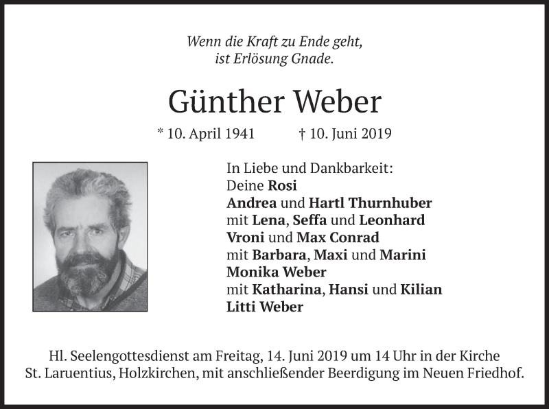 Traueranzeige für Günther Weber vom 12.06.2019 aus merkurtz