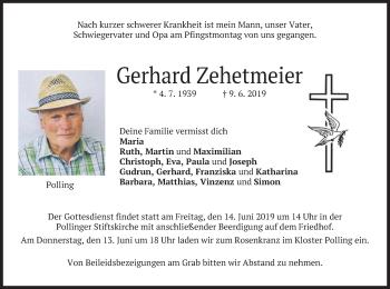 Traueranzeige für Gerhard Zehetmeier vom 12.06.2019 aus merkurtz