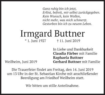 Traueranzeige für Irmgard Buttner vom 13.06.2019 aus merkurtz