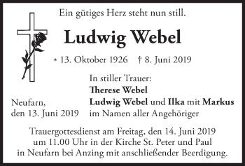 Traueranzeige für Ludwig Webel vom 13.06.2019 aus merkurtz