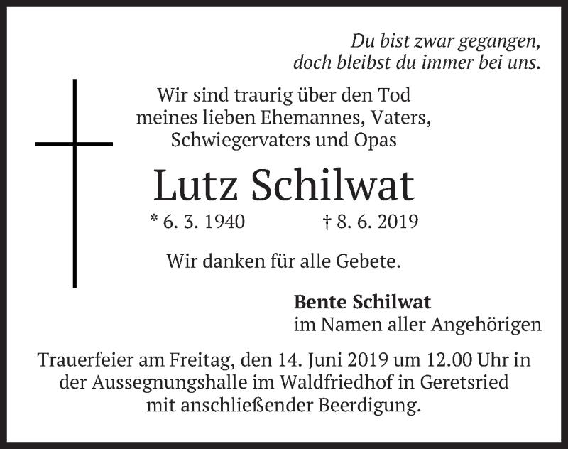 Traueranzeige für Lutz Schilwat vom 12.06.2019 aus merkurtz