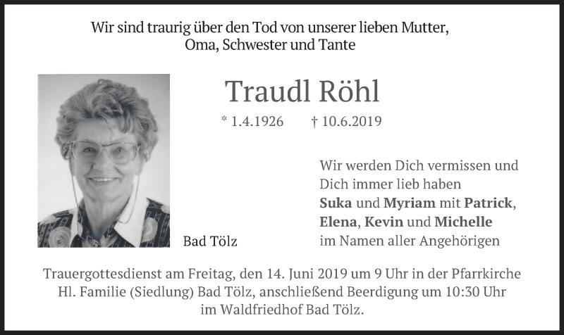 Traueranzeige für Traudl Röhl vom 12.06.2019 aus merkurtz