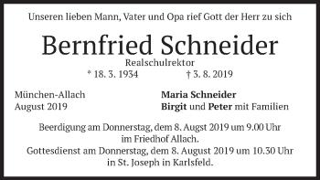 Traueranzeige von Bernfried Schneider von merkurtz
