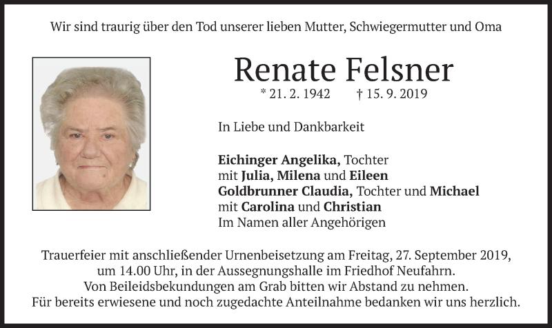 Traueranzeige für Renate Felsner vom 21.09.2019 aus merkurtz