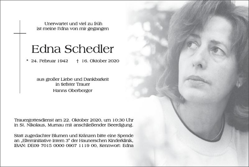 Traueranzeige für Edna Schedler vom 17.10.2020 aus merkurtz