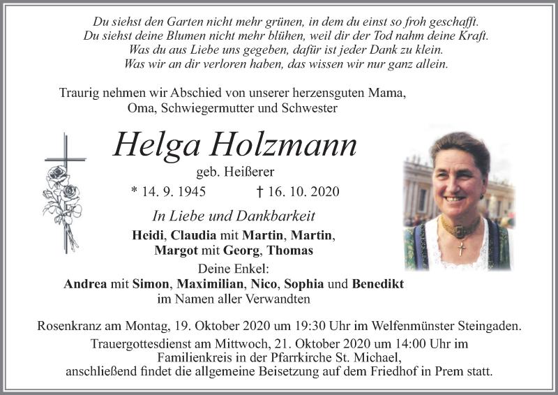 Traueranzeige für Helga Holzmann vom 19.10.2020 aus merkurtz
