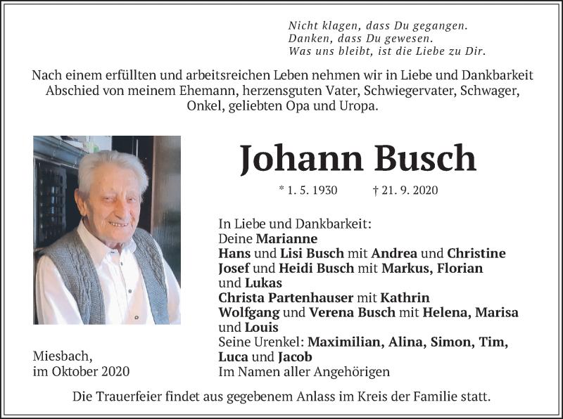Traueranzeige für Johann Busch vom 02.10.2020 aus merkurtz