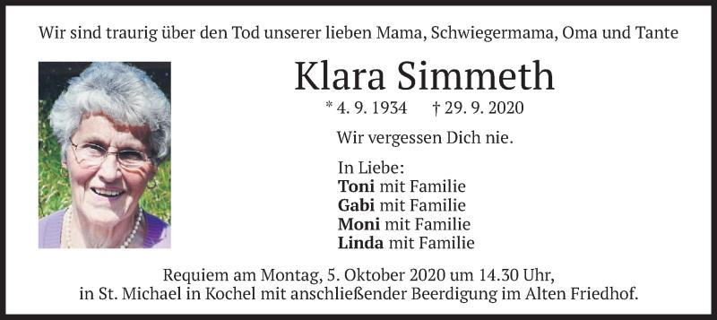 Traueranzeige für Klara Simmeth vom 02.10.2020 aus merkurtz