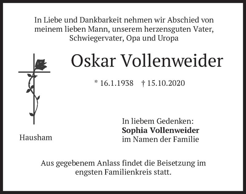Traueranzeige für Oskar Vollenweider vom 17.10.2020 aus merkurtz