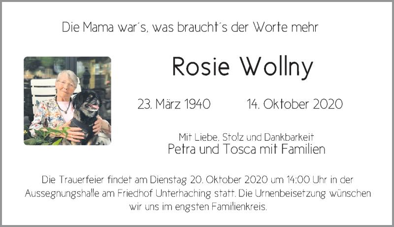 Traueranzeige für Rosie Wollny vom 17.10.2020 aus merkurtz