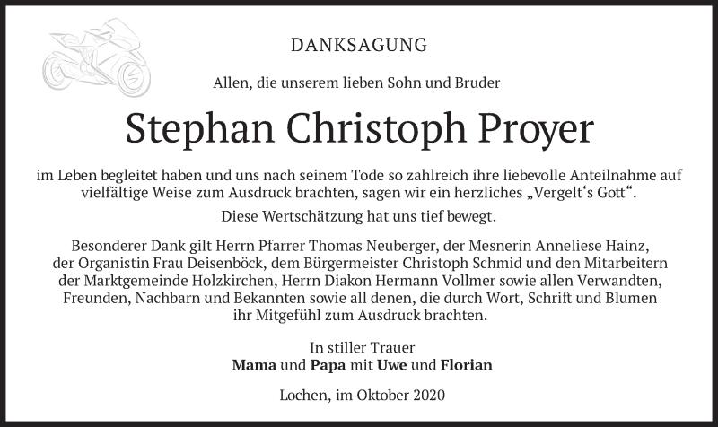 Traueranzeige für Stephan Christoph Proyer vom 10.10.2020 aus merkurtz