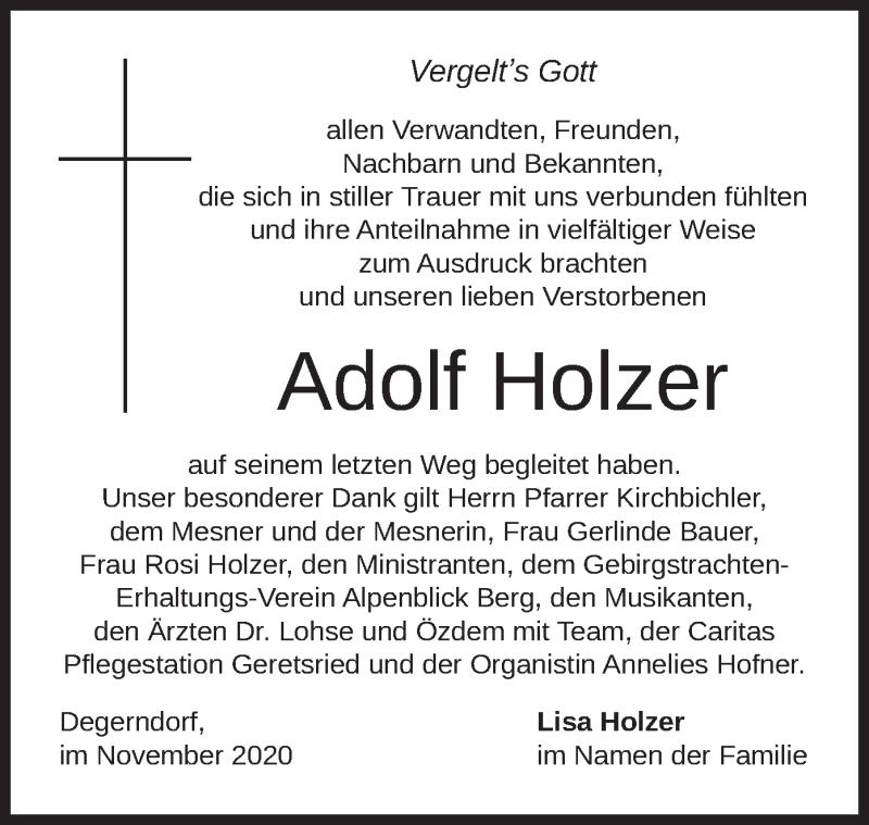Traueranzeige für Adolf Holzer vom 21.11.2020 aus merkurtz
