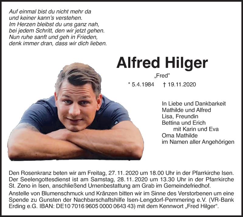 Traueranzeige für Alfred Hilger vom 26.11.2020 aus merkurtz