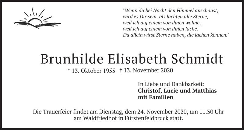 Traueranzeige für Brunhilde Elisabeth Schmidt vom 21.11.2020 aus merkurtz
