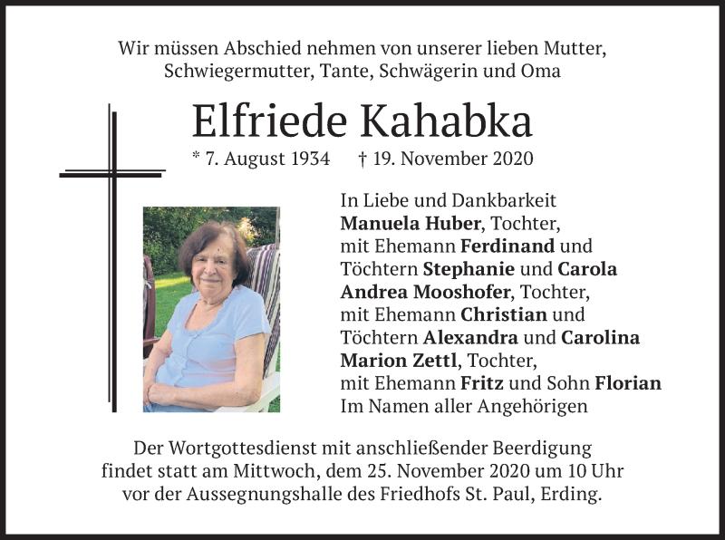 Traueranzeige für Elfriede Kahabka vom 21.11.2020 aus merkurtz