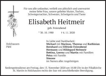 Traueranzeige von Elisabeth Heitmeir von merkurtz