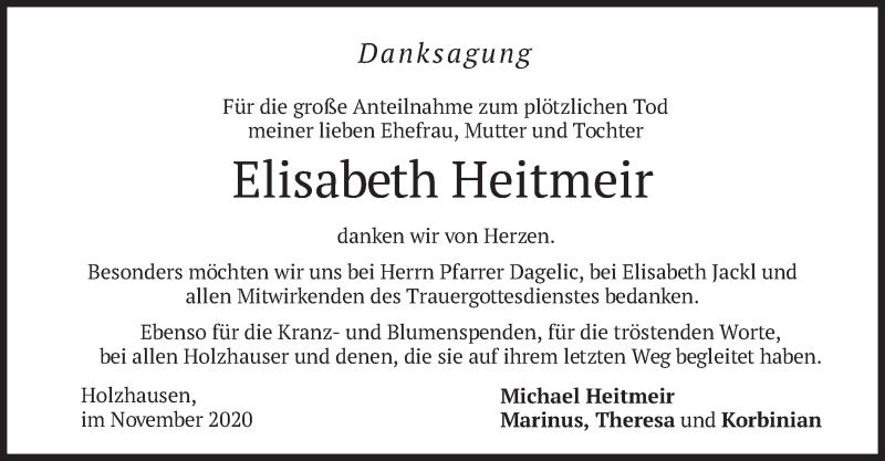 Traueranzeige für Elisabeth Heitmeir vom 28.11.2020 aus merkurtz