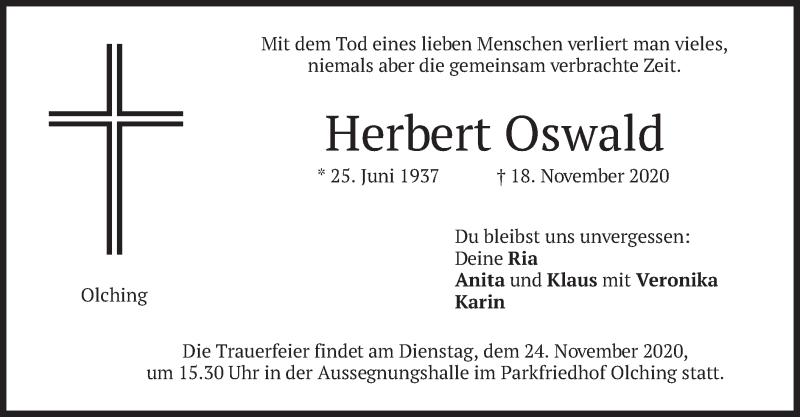 Traueranzeige für Herbert Oswald vom 21.11.2020 aus merkurtz