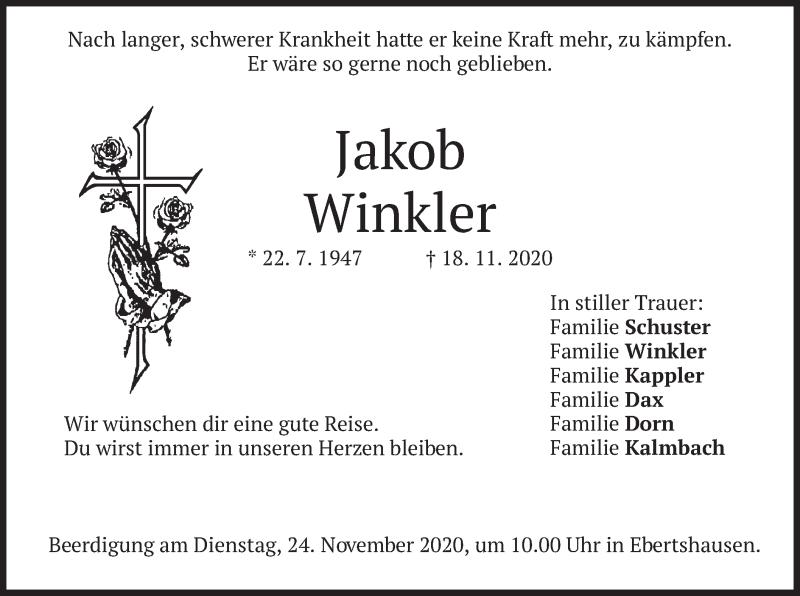 Traueranzeige für Jakob Winkler vom 21.11.2020 aus merkurtz