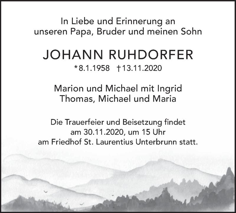 Traueranzeige für Johann Ruhdorfer vom 24.11.2020 aus merkurtz