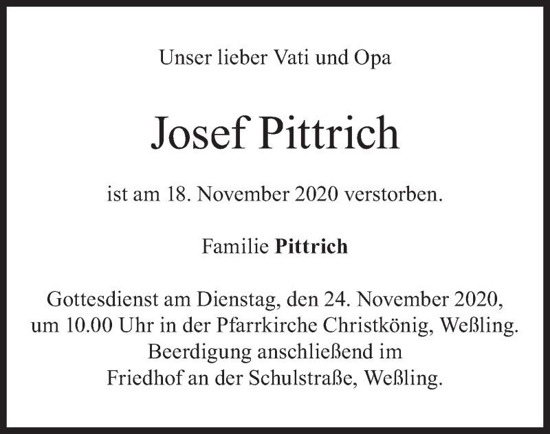 Traueranzeige für Josef Pittrich vom 21.11.2020 aus merkurtz