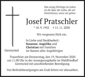 Traueranzeige von Josef Pratschler von merkurtz