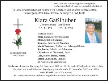 Traueranzeige von Klara Gaßlhuber von merkurtz