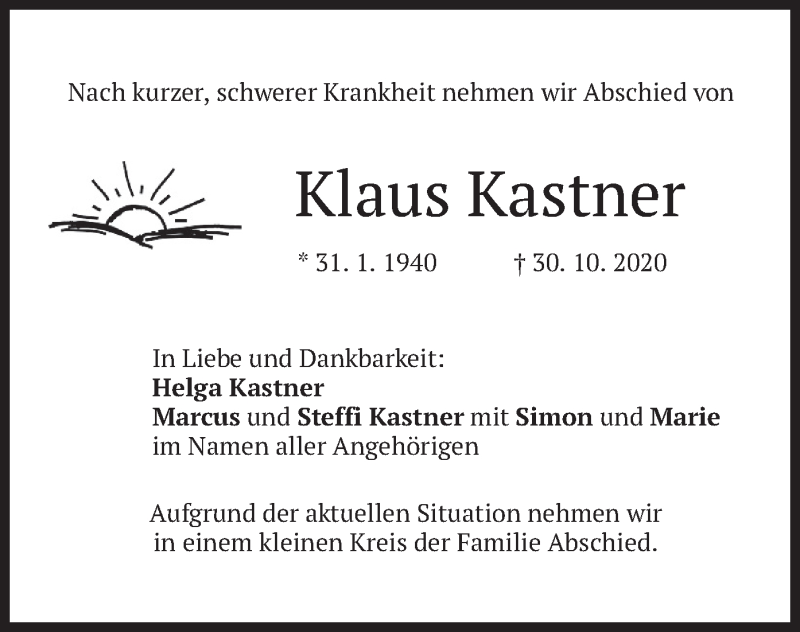 Traueranzeige für Klaus Kastner vom 06.11.2020 aus merkurtz