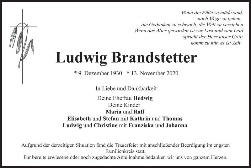 Traueranzeige für Ludwig Brandstetter vom 21.11.2020 aus merkurtz