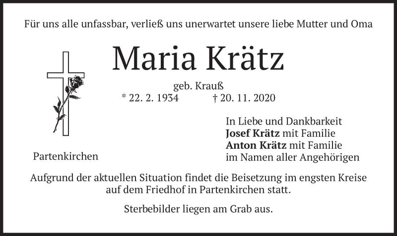 Traueranzeige für Maria Krätz vom 21.11.2020 aus merkurtz