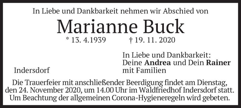 Traueranzeige für Marianne Buck vom 21.11.2020 aus merkurtz