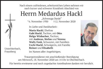 Traueranzeige von Medardus Hackl von merkurtz
