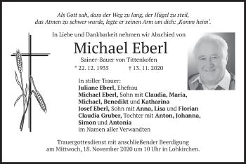 Traueranzeige von Michael Eberl von merkurtz