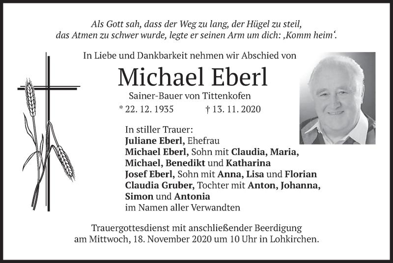 Traueranzeige für Michael Eberl vom 14.11.2020 aus merkurtz