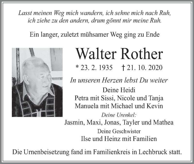Traueranzeige für Walter Rother vom 07.11.2020 aus merkurtz