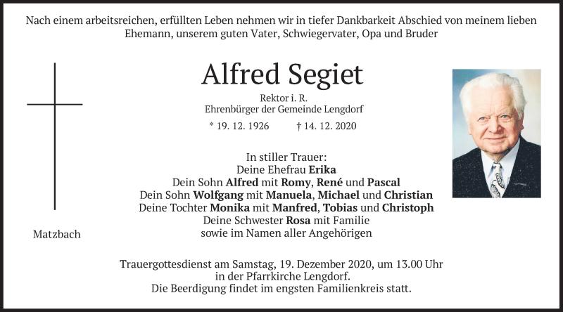 Traueranzeige für Alfred Segiet vom 17.12.2020 aus merkurtz
