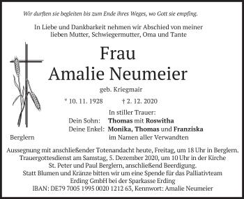 Traueranzeige von Amalie Neumeier von merkurtz