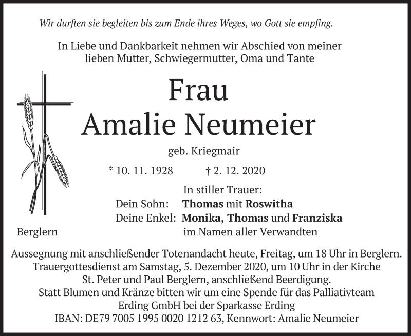 Traueranzeige für Amalie Neumeier vom 04.12.2020 aus merkurtz