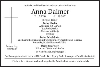 Traueranzeige von Anna Daimer von merkurtz