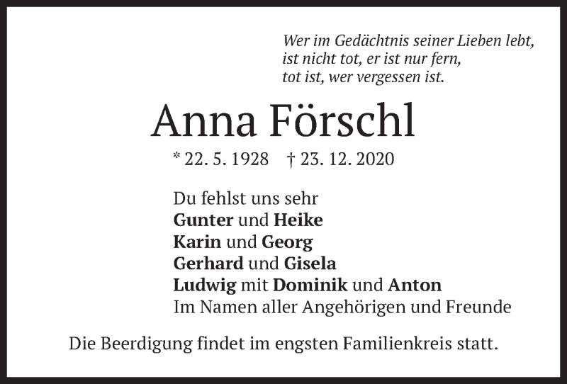 Traueranzeige für Anna Förschl vom 28.12.2020 aus merkurtz